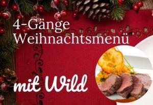 Einfaches 4-Gänge-Weihnachts-Menü mit Wild