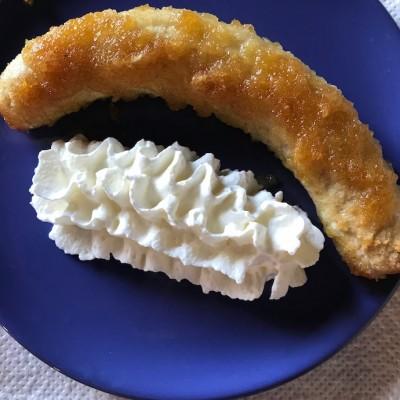 überbackene Banane fertig auf dem Teller