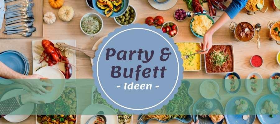 Bufett mit Speisen und Händen