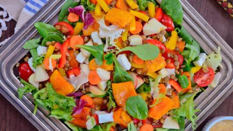 Linsen-Butternut-Feta-Salat